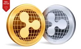 ripple moedas 3D físicas isométricas Moeda de Digitas Moeda cripto Moedas douradas e de prata com símbolo da ondinha isoladas no  ilustração royalty free