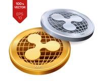 ripple moedas 3D físicas isométricas Moeda de Digitas Moeda cripto Moedas douradas e de prata com símbolo da ondinha isoladas no  ilustração do vetor