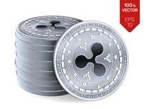ripple moedas 3D físicas isométricas Moeda de Digitas Cryptocurrency Pilha das moedas de prata com símbolo da ondinha isoladas no ilustração stock
