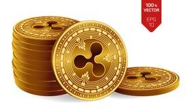 ripple moedas 3D físicas isométricas Moeda de Digitas Cryptocurrency Pilha de moedas douradas com símbolo da ondinha isoladas ilustração royalty free