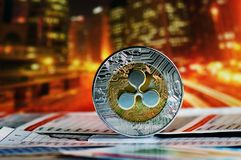 Ripple over colorful background. Ripple coin on colorful background stock photo