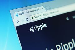 Ripple Cryptocurrency. Ripple payment system website on computer screen. Ripple is a real-time gross settlement system RTGS, currency exchange and remittance stock photo