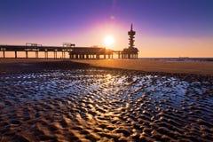 Ripple pier silhouette Stock Image