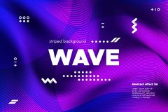 Ripple of Flowing Lines Concept. 3d Abstract. Ripple of Wave Surface Concept. 3d Linear Template with Movement. Purple Abstract Background with Distortion of royalty free illustration