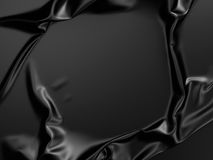 Rippled black silk fabric abstract luxury background Stock Photos