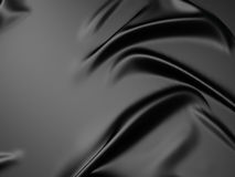 Rippled black silk fabric background Royalty Free Stock Photos