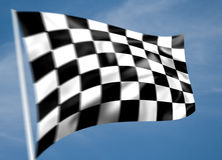 Rippled black and white chequered flag. With motion blur and sky background (illustration Royalty Free Stock Images