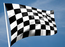 Rippled black and white chequered flag. With sky background (illustration royalty free illustration