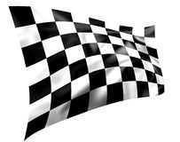 Rippled black and white chequered flag. Isolated on a white background (illustration Stock Images