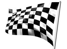 Rippled black and white chequered flag on pole. Isolated on a white background Royalty Free Stock Image