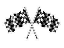 Checkered Flag, Chequered Flags Motor Racing. Rippled black and white crossed chequered flag start and finish flags Royalty Free Stock Photos
