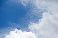 RIPPLED CLOUD BEHIND SOLID CLOUD. Combination of fleecy and solid cloud in blue sky Stock Photos