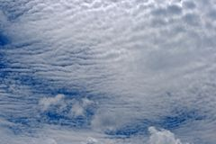 RIPPLED CLOUD. S against blue sky Stock Image