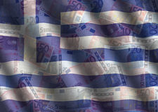 Rippled Euros and Greek flag Royalty Free Stock Photography