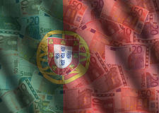 Rippled Euros and Portuguese flag Royalty Free Stock Images