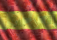 Rippled Euros and Spanish flag Royalty Free Stock Photo