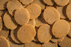 Rippled potato chips. Close up rippled potato chips royalty free stock photography