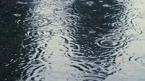 Rippled rain drops in slow motion