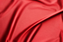 Rippled red silk fabric Royalty Free Stock Image