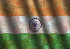 Rippled Rupee and Indian flag. Background illustration Royalty Free Stock Photography