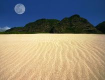 Rippled Sand Landscape with Offset Moon Royalty Free Stock Images