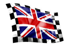 Rippled Union Jack flag with chequered border. (illustration Royalty Free Stock Photo