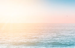 Rippled water surface with morning light. And blured horizon line Royalty Free Stock Photo