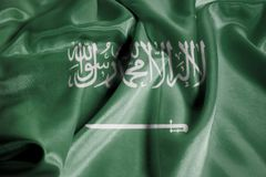 Rippled Waving Flag of kingdom of Saudi Arabia stock photos
