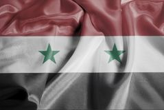 Rippled Waving Flag of Syria stock images