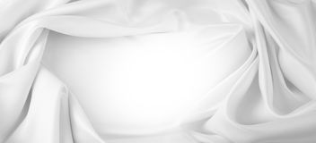 White silk fabric. Rippled white silk fabric. Copy space Royalty Free Stock Image