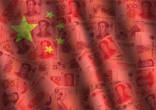Rippled Yuan and Chinese flag Stock Image