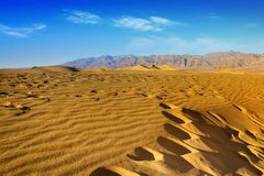 Ripples And Mountain Peaks. Death Valley National Park. California stock photo
