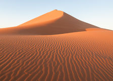 Ripples of a sand dune, Sossusvlei National Park, Namibia. Ripples are created across the giant sand dunes due to wind, Sossusvlei National Park, Namibia Royalty Free Stock Photos