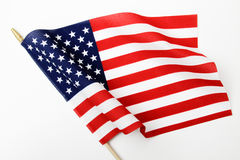 Ripples in US Flag on Pole stock photo