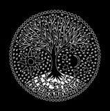 The tree of life. Mandala. Symbolic pattern in white. Manual graphics on a black background. Spiritual symbol.