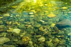 Rippling water with sunbeam and stones in the water Stock Photos