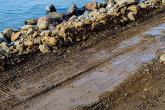 Riprap Works Construction Site Royalty Free Stock Images