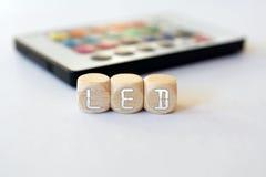 Ripresa esterna del LED con l'acronimo del Condurre-cubo Fotografia Stock Libera da Diritti