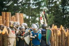 Ripristino storico delle lotte cavalleresche sopra Fotografia Stock Libera da Diritti