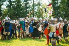 Ripristino storico delle lotte cavalleresche sopra Immagini Stock