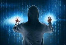 Riprogrammatore che ruba i dati immagine stock