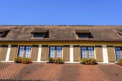 Riquewihr法国,与花的窗口 库存照片