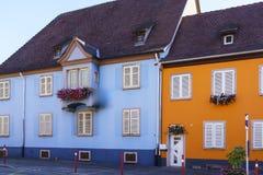 Riquewihr法国,与花的窗口 图库摄影