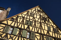 Riquewihr. (Alsace, France) - details of ancient tavern, in a typical old building Stock Image