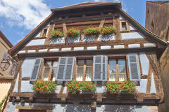Riquewihr France, Window with flowers Stock Photos