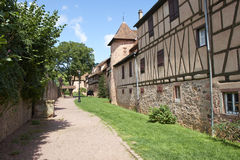 Riquewihr France. Riquewihr beautiful traditional village of Alsace in France, typical houses that form the walls of the country Royalty Free Stock Image