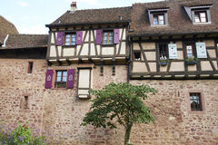 Riquewihr France. Riquewihr beautiful traditional village of Alsace in France, typical houses that form the walls of the country Stock Photo