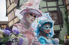 Portrait of Costumed women at the Venetian Parade in Riquewihr in Alsace. RIQUEWIHR - France - 1 July 2017 - portrait of Costumed women at the Venetian Parade in Stock Photography