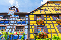 Riquewihr in France -romantic medieval city on the Alsace wine route. Typical architecture half-timbered in Alsace Royalty Free Stock Photos