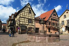 Riquewihr. The historic center of Riquewihr, France Stock Images